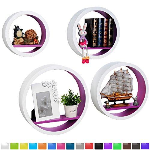 WOLTU RG9231la Wandregal Schweberegale, 4er Set Rund Regal, Retro Bücherregal, MDF Holz, DIY zum Hängen, weiß-violett
