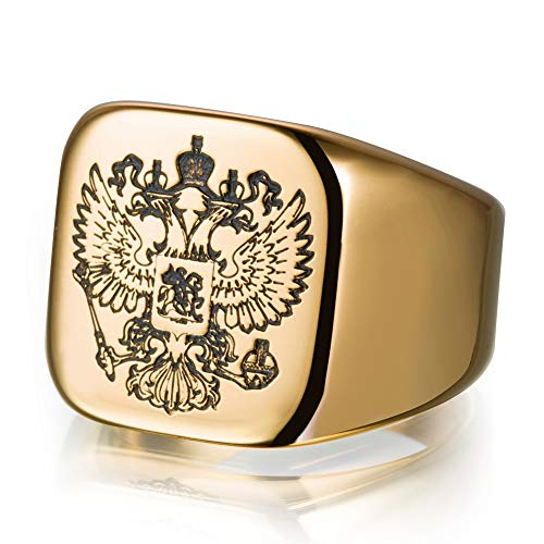 Xinmeitezhubao Herrenring, Russisches Abzeichen Russisches Emblem geschnitzt Herrenring doppelköpfiger Adlerzeichenring, Edelstahl 316,Gold,6 -