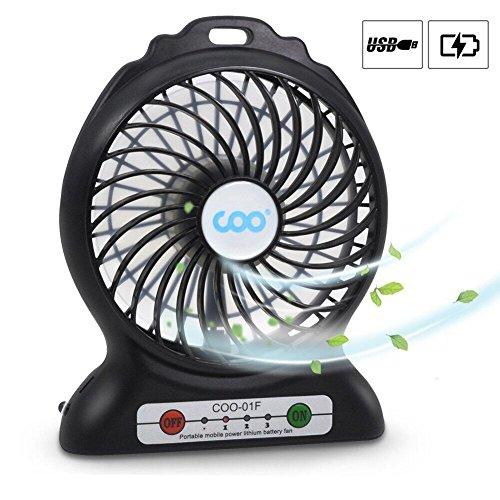 Mini Ventilador USB, COO Mini USB Ventilador de Mesa Recargable con Luz de Flash, Ventiladores de Escritorio Mesa para la Sala Ordenador Portátil Oficina Viaje y al Aire Libre etc (Negro)