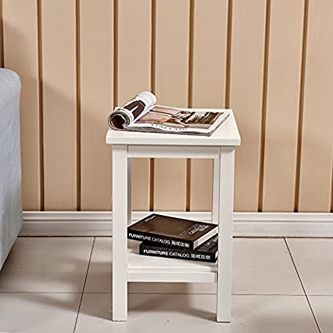 Tason 2 Tier Solid Pine Wood Bedside Table, Small Corner Side End Lamp Table (White)