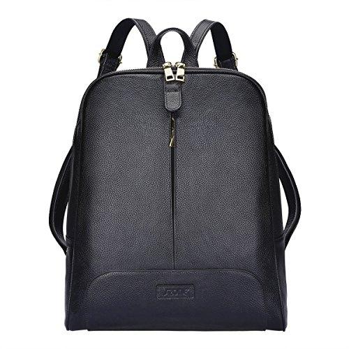 S-Zone 14 inch Laptop Frauen Echtes Leder Rucksack Geldb?RSE Reisetasche -