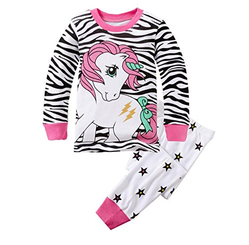 Backbuy-Printemps-Automne-Collection-Enfant-Fille--Manche-Longue-Rayures-toiles-Licorne-Pyjama