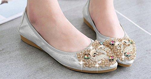 4c9bbd1cb3af ... Ohmais Chaussure femme cérémonie Ballerines femme à bride Fête  Demoiselle dhonneur Mariage Escarpin plat Argent