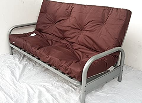 Seattle 3 Seater Clik-Clak Metal Futon Sofa Bed with Mattress. (Chocolate Brown)