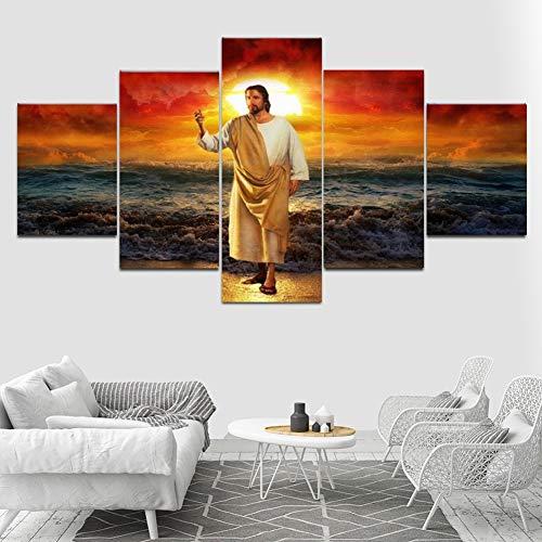 Drucken auf Leinwand Wand Kunst Bilder Poster 5 Stücke Jesus Christus Segen Am Meeresufer bei Sonnenuntergang Wohnkultur,A,30×50×2+30×70×2+30×80×1 -