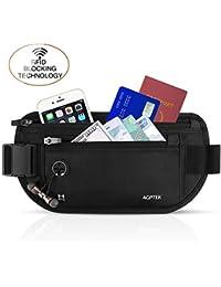 AGPTEK Marsupio da Viaggio con Protezione RFID, Marsupi portasoldi Multifunzione con 5 Tasche per Cellulari fino a 6,5 pollici, Contanti, Carte, Passaporto ect, Nero?