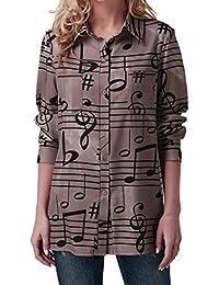 ❤️Levadis Femmes Note De Musique Impression Chemisier Turndown Col Haut à  Manches Longues Bouton Sweatshirt dd624bcac32