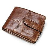 Portefeuille Vintage pour Hommes Sac à Main en Cuir à Fermoir Court pour Hommes Sac à Main Amovible Couture Sac à Main Noir Marron Porte-Cartes Organisateur (Couleur : Marron)
