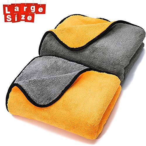 MATCC Mikrofaser Auto Trockentücher Poliertücher(90 * 60 cm) zur Professionellen Autopflege Ultraweich für Perfekte Auto Lackpflege mit Unfassbarer Aufnahmekapazität Seidenkante - Grau Orange
