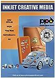PPD A4 Carta Vinile Autoadesiva Opaca Per Stampanti A Getto D'Inchiostro Inkjet - Sticker Bianco - x 20 Fogli - PPD-38-20