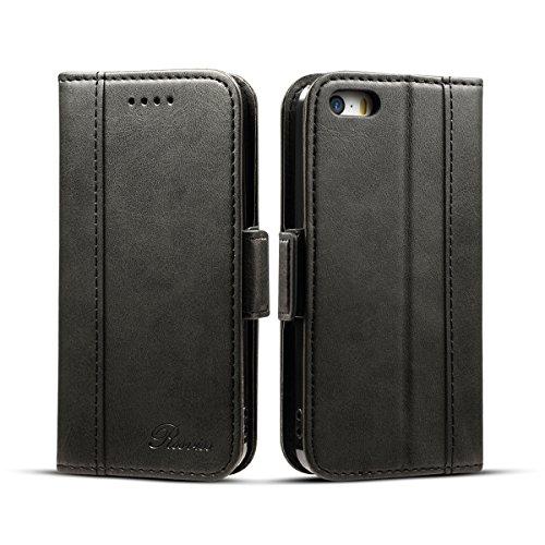lle,Premium iPhone 5s Handyhülle [Kartenfächer ] iPhone se hülle Lederhülle [Handy Ständer] mit [Magnetverschluss ] für iPhone 5/5s/se,4.0 Zoll,schwarz (W3) ()