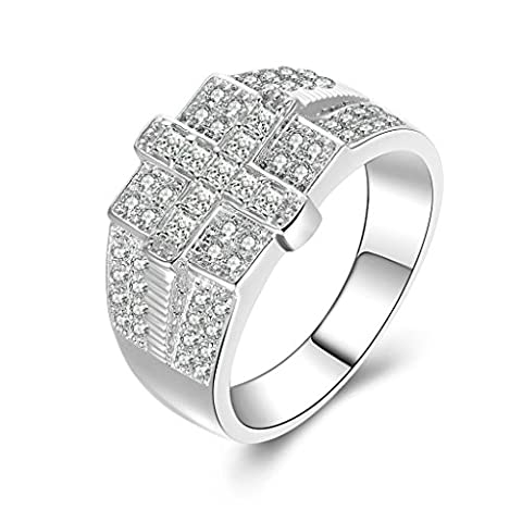 Daesar Sterling Silver Rings Men Wedding Bands Custom Ring Cross Square CZ Ring Size:Q 1/2