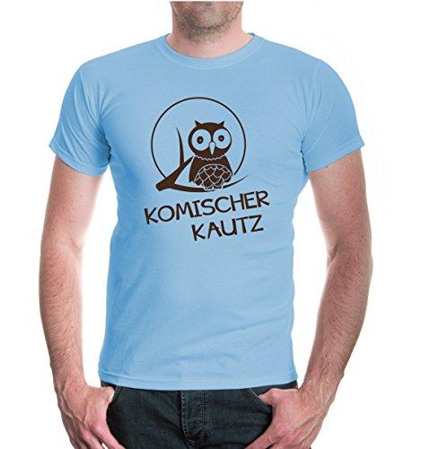 buXsbaum® T-Shirt Komischer Kautz Skyblue-Brown
