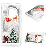 Galaxy S9 Case Bling Flowing Liquid Glitter Sparkly Stars Soft Bumper TPU Silicone Clear Protective Cover with Santa Claus Christmas Tree Reindeer Xmas Gift for Samsung Galaxy S9 Silver/White Stars