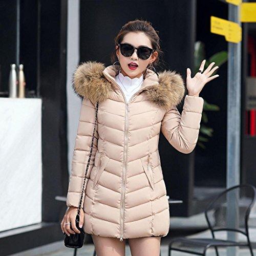 Cappotto Donna, Reasoncool Giacca Piumino Invernale Elegante Con Cappuccio Parka Manica Lunga Slim Fit Moda Casual Calda Giacche Giubbotto Cappotto,Pelliccia Faux Rosa