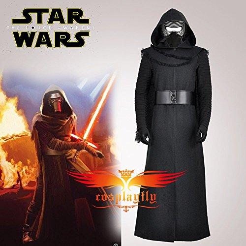 Imagen de star wars 7 el despertar de la fuerza kylo ren adulto uniforme negro chaqueta abrigo moive jedi cosplay disfraces para halloween sin máscara  alternativa