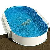 Ovalbecken 3,00 x 4,90 m, Tiefe 1,20 m, Folie blau 0,8 mm