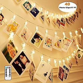 Qedertek LED Foto Lichterkette für Zimmer, Led Bilder 40 Photoclips mit Fernbedienung & Timer 8 Modi, Lichterkette mit Klammern für Fotos für Innen, Haus, Weihnachten, Hochzeit, Schlafzimmer