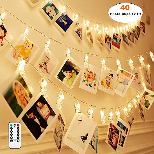 Qedertek LED Foto Lichterkette für Zimmer, Led Bilder 40 Photoclips mit Fernbedienung & Timer 8 Modi, Lichterkette mit Klammern für Fotos für Innen, Haus, Weihnachten, Hochzeit, Schlafzimmer - Haus Foto