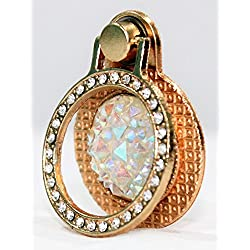 Indian Petals Diamond RhineStone Studded GemStone Diamond Design Metal Mobile Ring Holder Stand for LG HTC Motorola Samsung Apple mobiles, Anti-Theft, Gold