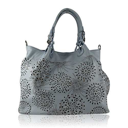 ZETA SHOES Borsa a Spalla Donna in Vera Pelle Made in Italy Laser 40x30x18 MainApps Blu