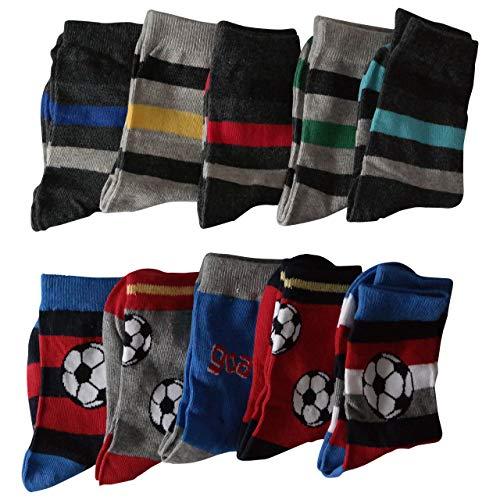 Lieblingsstrumpf24 10er Pack Socken Kinder Jungen Mädchen Baumwolle Öko-Tex Standard 100 (27-30, Jungs-Fussball-Mix)