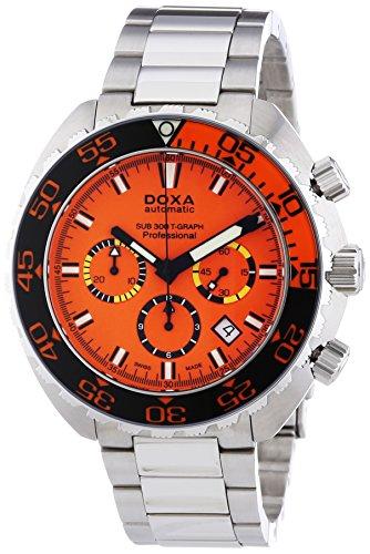 DOXA SUB 300t-graph Professional Sapphire bezel Herren Automatik Uhr mit Orange Zifferblatt Chronograph-Anzeige und Silber Edelstahl Armband 878.10.351.10