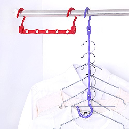 Fashion Creative Magic Hanger Haken Schrank Space Saver Lagerung Chest Chickwin Kleiderschrank Sortierung Trocknen Racks Storage Rack Multifunktionale Fünf-Loch Windproof Anti-Rutsch (2 (Outfits Erwachsene Space Für)
