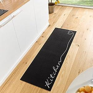 Zala Living Waschbarer Küchenläufer Küchenteppich Teppichläufer Kitchen (50×150 cm, 100% Polyamid, rutschfest, Fußbodenheizung geeignet), Schwarz/weiß