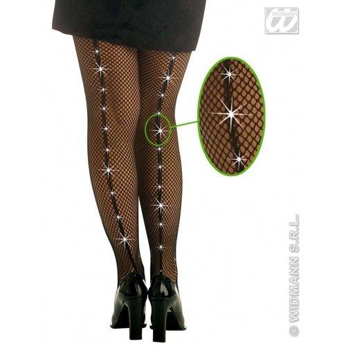 WIDMANN Strümpfe mit Strasssteinen für Damen, Schwarz, One Size, 4757B (Für Paar-halloween-kostüme Spaß-ideen)