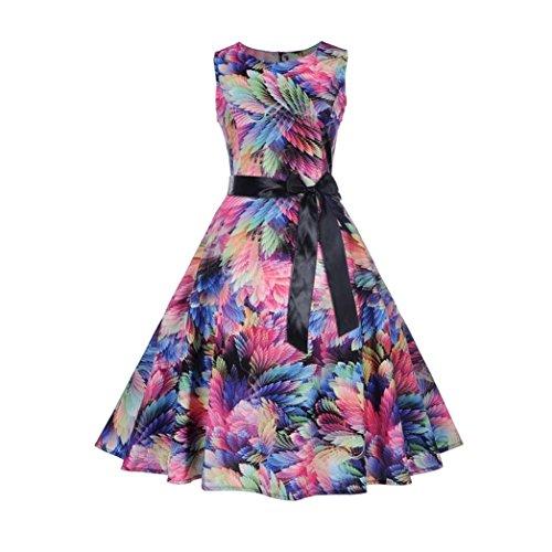 TEBAISE Sommer-Frauen, die formales Weinlese-Sleeveless O-Ansatz-Schmetterlings-Gedrucktes Abend-Partei-Abschlussball-Schwingen-Kleid-Geraden Rock Wedding sind(Mehrfarbig,EU-44/CN-2XL)