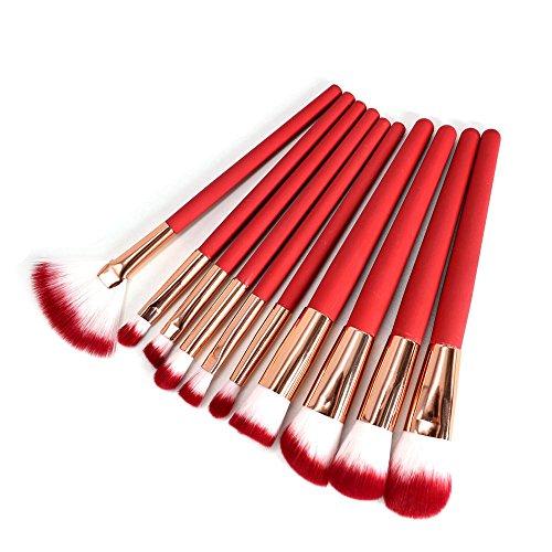 AKAAYUKO 10pcs Induction thermique Makeup Brush set Cosmétique Fondation Beauté Maquillage -Rouge