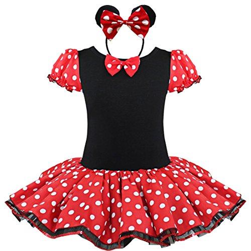 YiZYiF Mädchen Kinder Kostüm Ballettkleid Geburtstag Party Karneval Fasching Cosplay Halloween Kostüm Kleid mit Ohren (98-104, Rot)