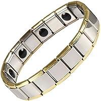 ebuty Edelstahl Germanium und Magnet Energie Armband Stretch Länge erweitern Gold silberfarben in Geschenkbox preisvergleich bei billige-tabletten.eu