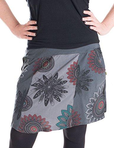 Vishes - Alternative Bekleidung – Mit Blumen bedruckter Patchworkrock aus Baumwolle – mit Taschen grau - Pixie Grau
