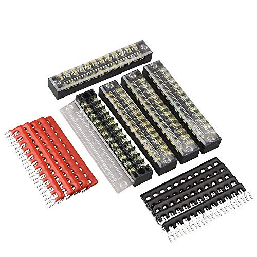 Qishare 15 Stück zweireihig 12 Positionen Schraubklemmleiste 600V 15A + 400V 15A 12 Positionen vor isolierten Klemmenleiste rot/schwarz 10 Stück(15A 12P)