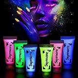 Skymore Peinture Corporelle, Peinture De Visage, 6PCS Bodypaints UV, Face Painting, Avec Couleurs Fluorescentes Pour Carnaval Peinture Corporelle