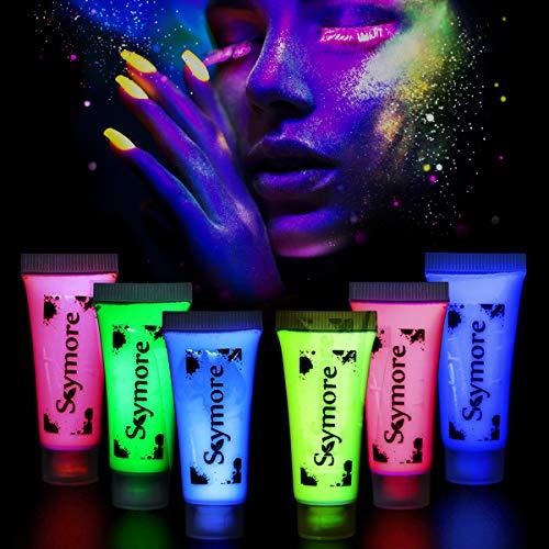 Skymore Neon Nights UV-Bodypaint Schminke, 6 Körpermalfarben, Schwarzlicht Fluoreszierende Schminke, Schminke Bodypainting Neon Farben Leuchtfarben für Body und Facepainting, Halloween Karneval