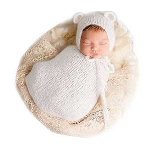 Neugeborenen Babyfotografie Props Kostüm Jungen Mädchen Baby Fotografieren Fotoshooting Set Requisiten Accessoire Hut und Schlafsack (White/Weiß)
