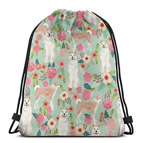 best gift Akita Floral Dogs and Florals Flowers - Mint_18828 Custom Drawstring Shoulder Bags Gym Bag Travel Backpack Lightweight Gym for Man Women 16.9