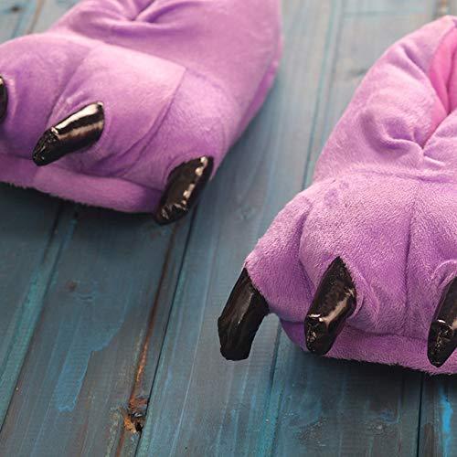 JYLW Damen Schlafanzug Sneakers Nette Lustige Tier Paw Slip Pers Monster Klaue Cartoon Slipper Warme Weiche Plüsch Winter Indoor Schuhe Match Onesies, Lila Schuhe, 35 -