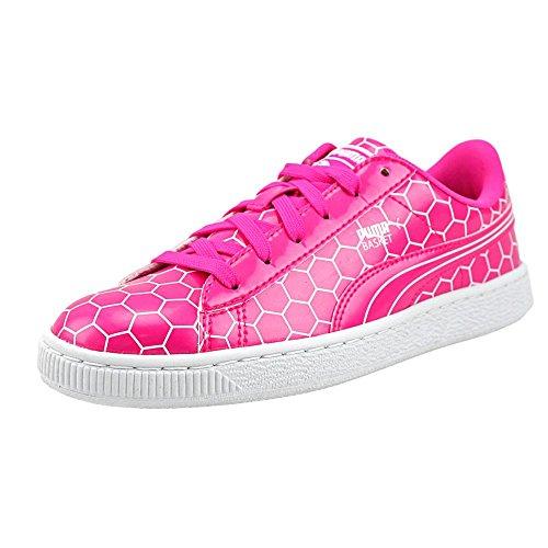 Puma Basket Classic Ano Jr Lackleder Sportliche Turnschuh Pink Glo-Puma White