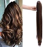 26' Queue de Cheval Postiche Extension de Cheveux (Attachée par Pince/Griffe) Lisse - Claw on Ponytail Clip in Hair Extensions - Marron foncé/Marron café (66cm)