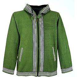 Guru-Shop, Chaqueta de Goa, la Chaqueta con Capucha Etno, Verde, Algodón, Tamaño:L, Camisetas y Sudaderas