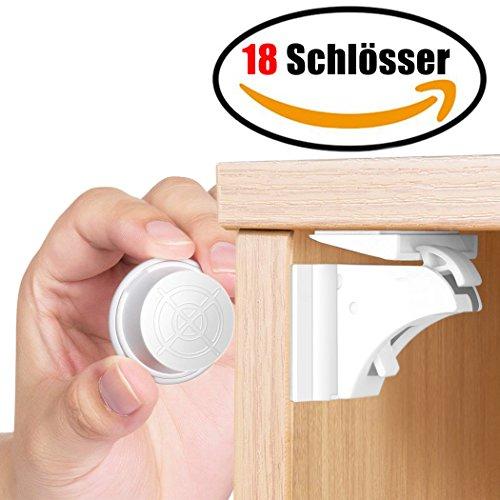 cherung Schrankschloss | 18 Schlösser mit 3 Schlüssel | WoZon Baby Sicherheit Unsichtbare Schubladensicherung | Kindersicherung für Küchen ()