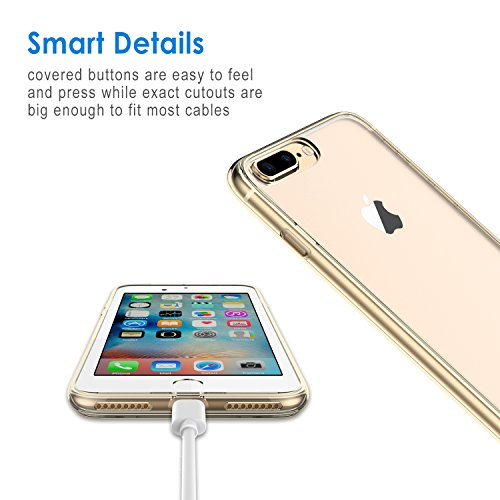 """JETech Apple iPhone 8 Plus / 7 Plus Hülle Tasche Schutzhülle Case Cover Bumper und Anti-Scratch Löschen Back für iPhone 7 Plus 8 Plus 5.5"""" (Schwarz) Gold"""