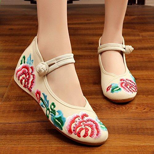 THk&M Frauen bestickte Schuhe Herbst Retro Keil mit Tuch schuhe Braut verheiratet ein Wort Schnalle, 38, beige (Patent Beige Sandalen Damen)