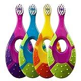 Jordan 6220100 Baby Zahnbürste Step 1 mit Beißring, 0-2 Jahre, extra soft (Farbe zufällig, 6 Stück)