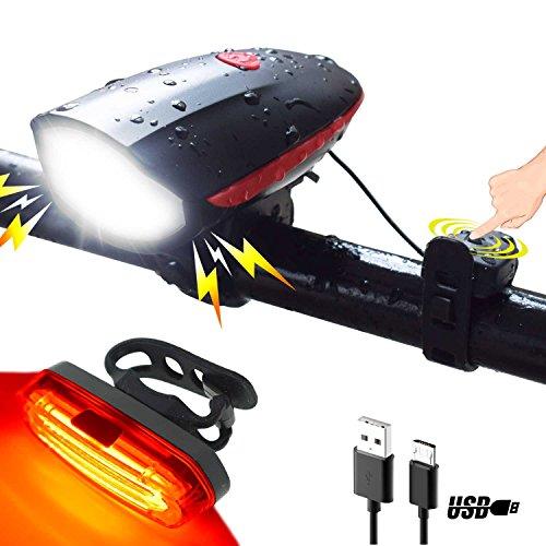 USB Wiederaufladbare LED Fahrradlicht Set mit Fahrradklingel ,Wasafire IP 65 Wasserfest Frontlichter und Rücklicht,1200mAh Akku USB Aufladbare Fahrradlichter für Berg-Radfahren, Camping