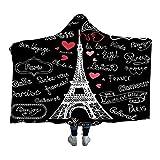 ISAAC ENGLAND Couverture Lettres Romantiques Coeur Paris France Tour Sherpa Polaire Microfibre Couverture Throw Noir Literie-130 * 150cm